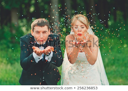 bride and groom with cake portrait Stock photo © IS2