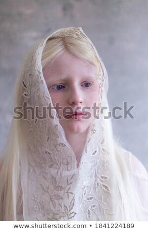 çekici kız dantel elbise mavi saç çekici Stok fotoğraf © fotoduki