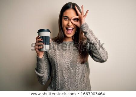 Kadın fincan kahve ahşap masa iş Stok fotoğraf © wavebreak_media