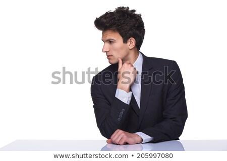 Portré férfi dől asztal néz oldal Stock fotó © feedough