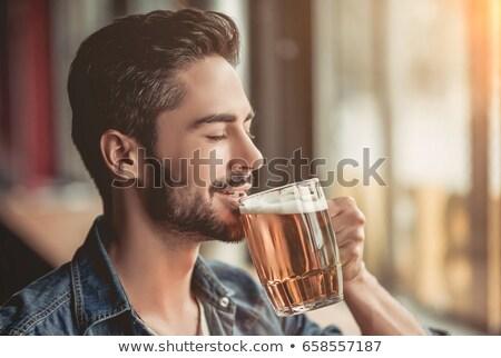 Man drinken bier voetbal afbeelding Stockfoto © deandrobot