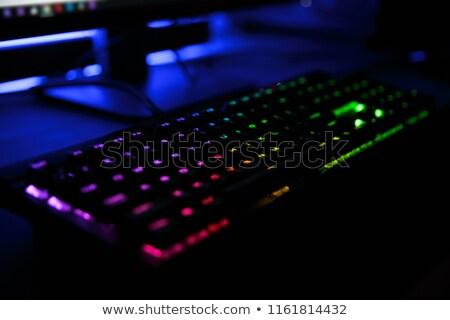 Vista lugar de trabajo arco iris retroiluminación Foto stock © deandrobot