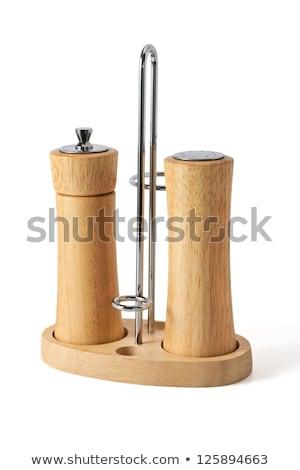 ストックフォト: 塩 · 唐辛子 · 木材 · 実例 · 背景 · 白