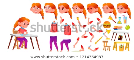 Girl, Child, Kid, Teen Vector. Schoolchild. Lecture. Face Emotions, Various Gestures. Animation Crea Stock photo © pikepicture