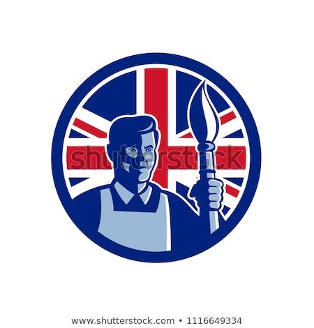 Brit művész brit zászló zászló ikon retró stílus Stock fotó © patrimonio
