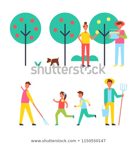 People Taking Care About Trees in Garden Icon Stock photo © robuart