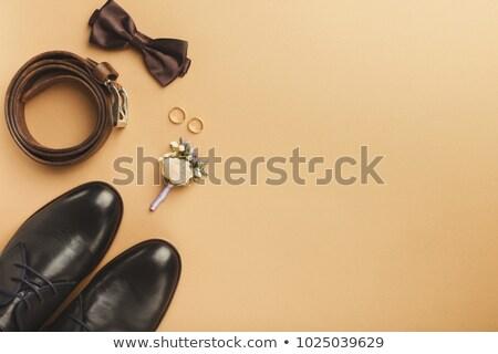 Vőlegény szett ruházat jegygyűrűk cipők csokornyakkendő Stock fotó © ruslanshramko