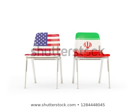 Two chairs with flags of US and iran isolated on white Stock photo © MikhailMishchenko