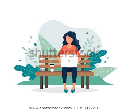 женщину сидят скамейке внештатно работник парка Сток-фото © robuart