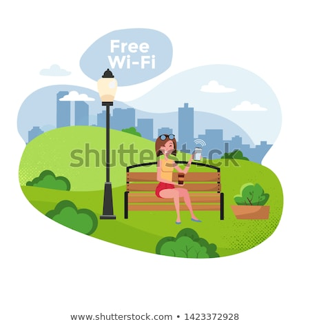 Spending Time in City Park with Free Wifi Vector Stock photo © robuart