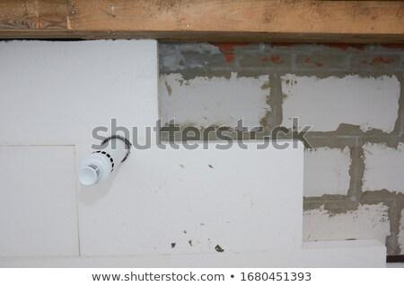 Szigetelés ház tapadó ragasztó közelkép építkezés Stock fotó © simazoran