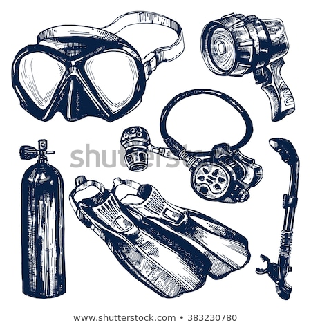 Diving mask with snorkel hand drawn outline doodle icon. Stock photo © RAStudio