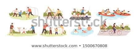 Zestaw szczęśliwą rodzinę działalność ilustracja kwiat wiosną Zdjęcia stock © colematt