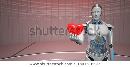 Humanoide robot corazón cardiólogo rojo cardiología Foto stock © limbi007