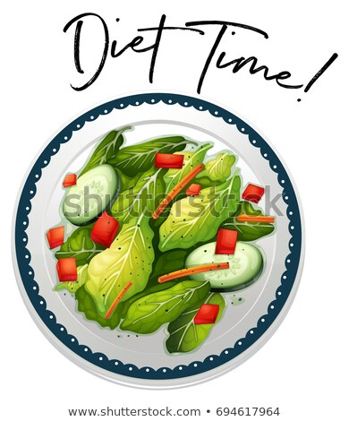 Plate of salad with phrase diet time Stock photo © colematt