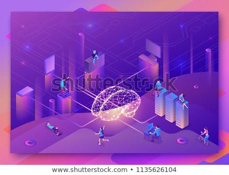 Robotics network isometric 3D landing page. Stock photo © RAStudio