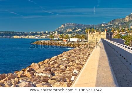 középkori · város · francia · panorámakép · kilátás · tengerpart - stock fotó © xbrchx