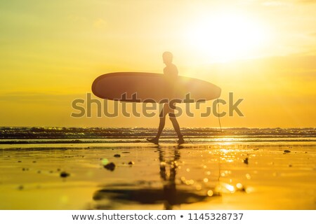 vacation silhouette of a surfer carrying his surf board home at sunset with copy space banner long stock photo © galitskaya