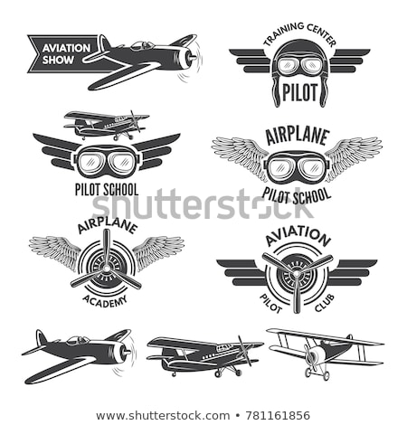 Vintage aviation étiquettes design ciel Photo stock © netkov1
