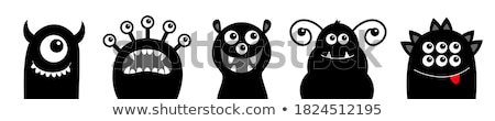 Сток-фото: Comic Children Characters Black And White Set