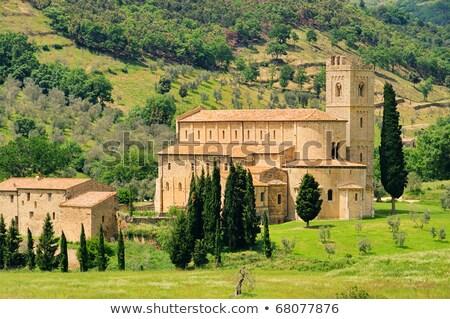 Abdij Italië klooster weg landschap groene Stockfoto © borisb17