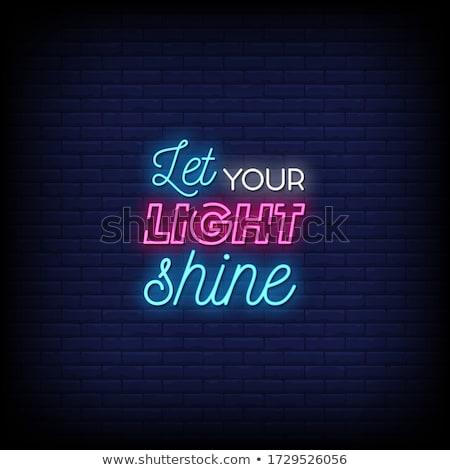 Vízszintes színes neon játék felirat projektek Stock fotó © Voysla