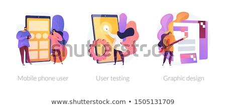 App teremtés vektor metaforák lépcső ikon szett Stock fotó © RAStudio