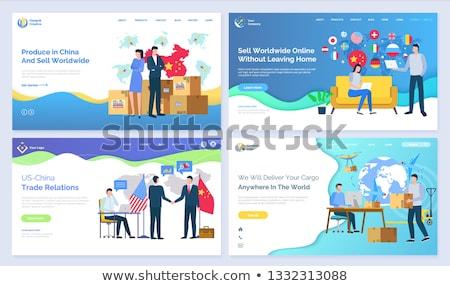 Chiny działalności kontakty partnerów pracy wektora Zdjęcia stock © robuart
