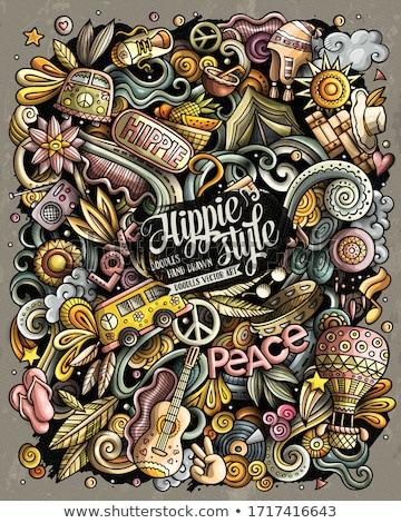 Cartoon garabatos hippie ilustración vintage acuarela Foto stock © balabolka