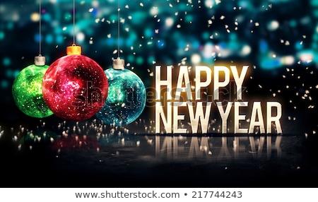 Happy new year güzel gümüş dizayn parti mutlu Stok fotoğraf © SArts