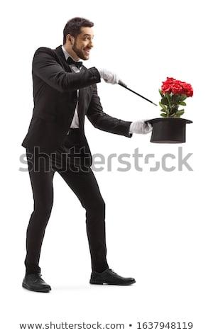 jonge · goochelaar · Rood · rose · zwarte · glimlach - stockfoto © vladacanon