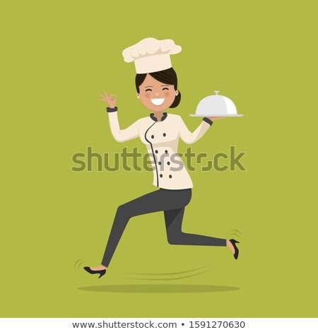 Kobieta gotować uruchomiony szczęśliwy projektu kucharz Zdjęcia stock © Imaagio