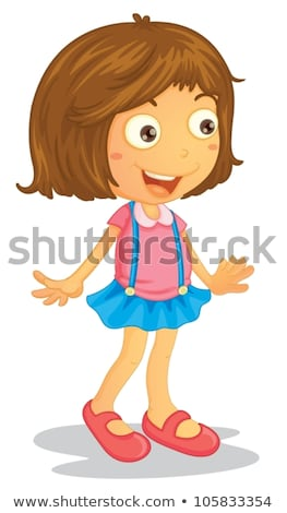 Een gelukkig meisje bruin rok illustratie vrouw Stockfoto © bluering