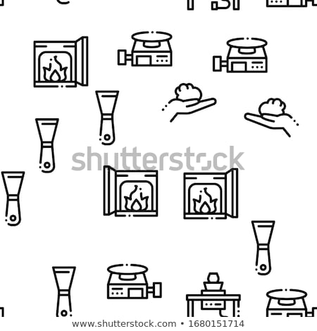 clay vase on fire icon vector outline illustration Stock photo © pikepicture