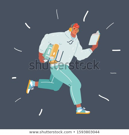 Man in Restaurant or Cafe Reading Book Vector Stock photo © robuart