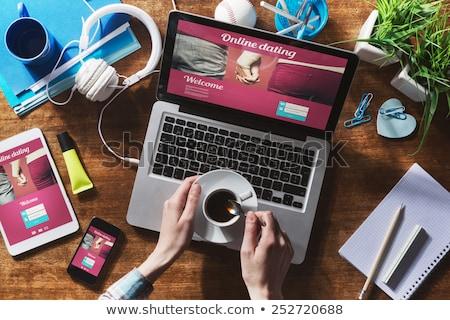 Chat online randizás barátság közösségi hálózatok izometrikus Stock fotó © -TAlex-
