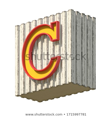 Vintage concrete red yellow font Letter C 3D Stock photo © djmilic