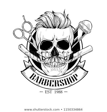 Barbershop logo, angry sticker with skull Stock photo © netkov1