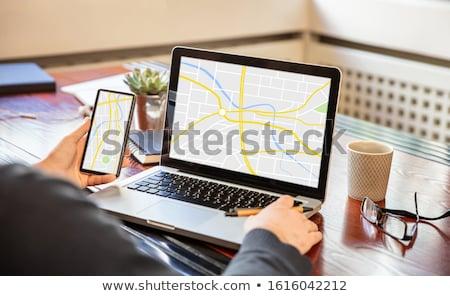 Gps konum harita arama çevrimiçi dizüstü bilgisayar Stok fotoğraf © AndreyPopov
