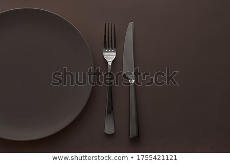 Lege plaat bestek ingesteld bruin Stockfoto © Anneleven