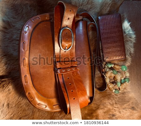 Black leather belt and buckle with stone Stock photo © RuslanOmega