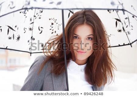 mooie · vrouw · lopen · buitenshuis · sneeuwval · mooie · blonde · vrouw - stockfoto © hasloo
