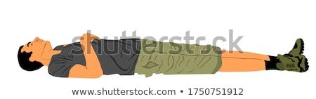 Man leggen park gras ruimte shirt Stockfoto © photography33