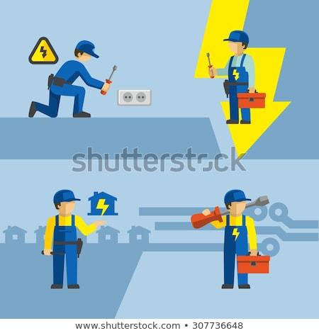 Electrical engineer fixing socket Stock photo © photography33