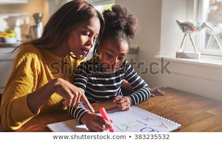 mãe · ensino · filha · escrever · família · menina - foto stock © photography33