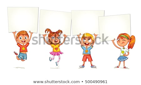 vector young children holding blank paper stock photo © freesoulproduction