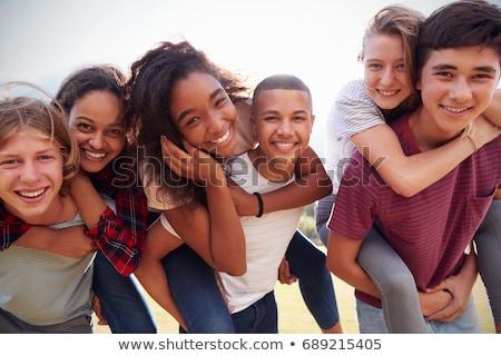 Tinédzser fiatal gyönyörű nő közelkép portré lány Stock fotó © zittto