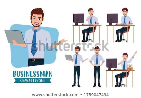 Foto stock: Empresário · apresentação · escritório · papel · trabalhar
