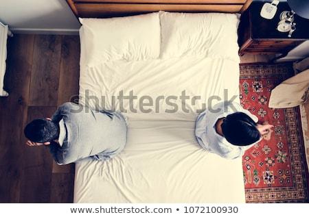 szomorú · reggel · hálószoba · fiatal · pér · melltartó · hát - stock fotó © wavebreak_media