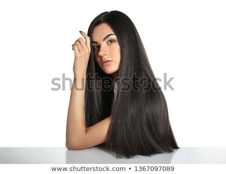 Portret piękna młodych pani długo ciemne włosy Zdjęcia stock © Elmiko